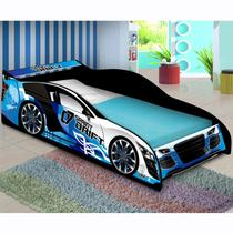 Cama Infantil com Proteção Lateral Carro Drift J&A Móveis Azul -