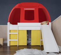Cama Infantil Completa Com Escorregador e Barraca Branco/Amarelo/Vermelho - Pura Magia