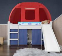 Cama Infantil Completa Com Escorregador e Barraca Branco/Azul/Vermelho - Pura Magia