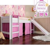 Cama Infantil Elevada C/ Escorregador Cortina Rosa - Branco - Completa Móveis