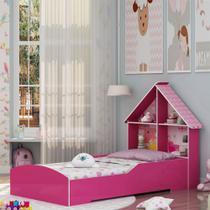 Cama Infantil Feminina Solteiro para Colchão 88cm - Gelius Casinha - Pink -