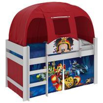 Cama Infantil Mickey Disney Aventura Sobre Rodas C/ Barraca 100% MDF Branco / Vermelho - Pura Magia