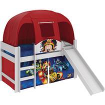 Cama Infantil Mickey Disney Aventura Sobre Rodas C/ Escorregador e Barraca 100% MDF Branco / Vermelho - Pura magia