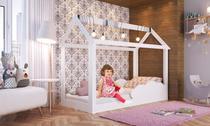 Cama Infantil Montessoriano Padrão Solteiro com Grades Proteção Nuvem Branco - Completa Moveis - Completa Móveis