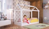 Cama Infantil Montessoriano Padrão Solteiro Grades Proteção Nuvem Branco/Amarelo - Completa Moveis - Completa Móveis