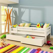 Cama Infantil Prime com 2 Gavetões e Grade De Proteção - Madeira Maciça - Laca Branco - Casatema