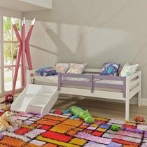 Cama Infantil Prime com Grade de Proteção Lilás e Kit Escadinha/ Escorrega - Madeira Maciça - Branco - Casatema