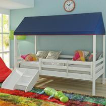 Cama Infantil Prime com Grade de Proteção, Telhado Casatema -