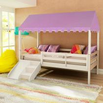 Cama Infantil Prime com Grade de Proteção, Telhado Completo Lilás e Kit Escadinha/Escorrega Casatema -