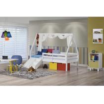 Cama Infantil Prime com Grade De Proteção, Telhado Vi, Xale e Kit escada/escorregador - Casatema -