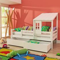 Cama Infantil Prime com Telhadinho Ii 2 Gavetões e Grade De Proteção - Madeira Maciça - Laca Branco - Casatema