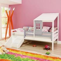 Cama infantil prime com telhadinho ii e grade de proteção c/ kit escadinha/ escorrega - lilás/ branc - Casatema