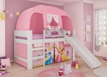 Cama Infantil Princesas Disney Play Completa Com Escorregador, Escada, Cortina E Barraca Pura Magia -