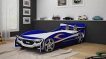 Cama Infantil Solteiro Carro Speed Azul P/ Colchão 88cm - Gelius