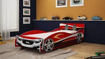 Cama Infantil Solteiro Carro Speed Vermelho P/ Colchão 88cm - Gelius
