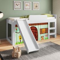 Cama Infantil Solteiro com Escorregador, escada e cortina Diversão CM090 Meu Fofinho -