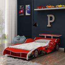 Cama Infantil Solteiro para Colchão 88cm - Gelius Carro Formula 1 Vermelho -