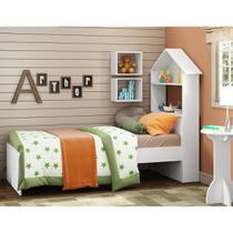 Cama Infantil Sophia com Cabeceira de Casinha Branco Multimóveis com Baú REF.2369 -