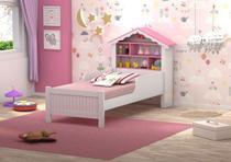 Cama Juvenil Casinha de Princesa Branco/Rosa com Colchão D20 - Vitamov