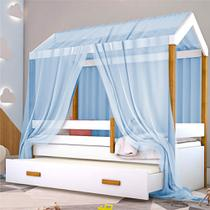 Cama Montessori Cabana com Auxiliar Solteiro e Dossel Azul - Casah
