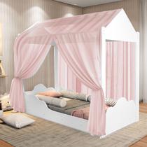 Cama Montessoriana Solteiro com Dossel Rosa - Móveis Bela