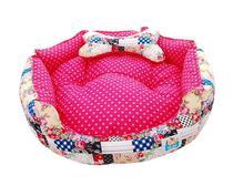 Cama Pet Cachorro Gato Redonda Diamante - Tam.M - Pink Floral - Tili pet