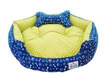 Cama Pet Cachorro Gato Redonda Diamante - Tam.P - Azul Royal com Verde - Tili pet