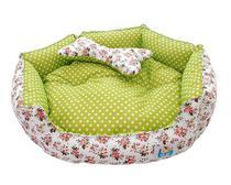 Cama Pet Cachorro Gato Redonda Diamante - Tam.P - Branco Floral com Verde - Tili pet