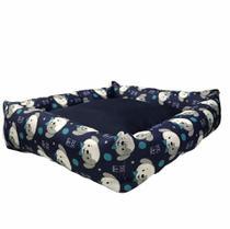 Cama Pet Para Cachorro 60 X 60 Raça Grande Dog Azul Flobelle -