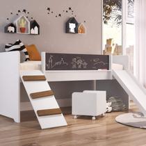 Cama Playground com Escorregador e Rampa Completa Móveis Branco -