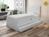 Cama solteiro bau larissa com cama auxiliar dani branco - Framar