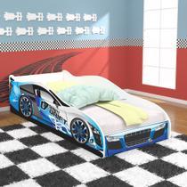 Cama Solteiro Carro Drift 88x188 com Colchão D20 - Azul / Branco - RPM Móveis -