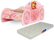 Cama Solteiro Carruagem Rosa Com Colchão Probel - Loja Tigus