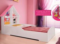 Cama Solteiro Infantil Gelius Casinha com 4 Divisorias e Adesivo Decorativo Branco -