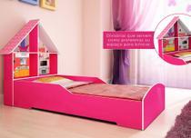 Cama Solteiro Infantil Gelius Casinha com 4 Divisorias e Adesivo Decorativo Rosa Pink -