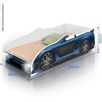 Cama Solteiro Juvenil Carro Sport com LED - Azul - Divaloto