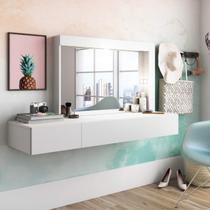 Camarim Suspenso com Espelho e 2 Gavetas Inspiração Mimo Albatroz Móveis Branco Fosco Liso -