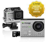 """Câmera De Ação Sport 4k LCD 2"""" 16mp + Cartão 16gb Prata Mirage MR3001 -"""
