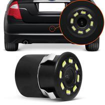Câmera de Ré Infravermelho Visão Noturna 8 LEDs Preto Para-Choque Colorida Espelho Retrovisor ou DVD - Tech One
