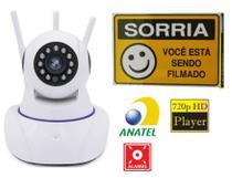 Câmera de Segurança Sem Fio Ip Hd 720 Wifi com 3 Antenas e Placa Sinalização - Luateck