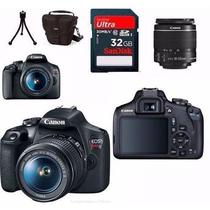 Camera digital canon eos t7 kit lente 18-55mm+bolsa+tripe+32gb+kit limpeza com garantia canon oifici