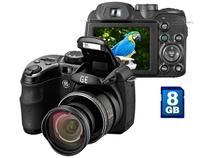 "Câmera Digital GE X550 16MP LCD 2.7""  - Zoom Óptico 15x Foto Panorâma Full HD Cartão 8GB"
