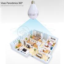 Camera Espiã IP Seguraca Lâmpada VR 360º Panoramica Bivolt Espia Wifi V380 - VR CAM -