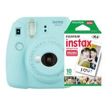 Câmera instantânea Fujifilm Instax Mini 9 Azul Aqua + Pack 10 fotos -