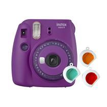Câmera instantânea Fujifilm Instax Mini 9 c/ 3 filtros coloridos - Roxo Açaí -