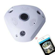 Camera Ip Hd 720p Panoramica 360 Wi-fi Lente Olho De Peixe 1,3 Mp - Newprotec
