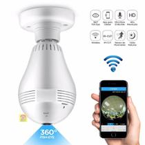 Camera Ip Lampada Led 360 HD Panorâmica Wifi Celul 3g Espiã - Bms