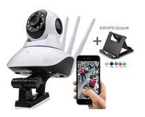 Câmera Ip Noturna Segurança Espiã HD Wifi Sensor Infravermelho 3 Antenas + Suporte Celular - Smart