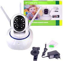 câmera iP robô 3 antenas wifi visão noturna HD 360º microfone áudio babá eletrônica yousee - Xls