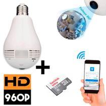 Camera Ip Seguraça Lampada 360 Espia Wifi V380 + Cartão De Memoria 32GB - Lx Shop